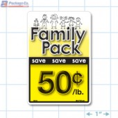 Family Pack Save 50¢ per lb Bright Yellow Rectangle Merchandising Labels - Copyright - A1PKG.com SKU - 15118