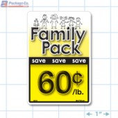 Family Pack Save 60¢ per lb Bright Yellow Rectangle Merchandising Labels - Copyright - A1PKG.com SKU - 15119