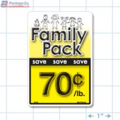 Family Pack Save 70¢ per lb Bright Yellow Rectangle Merchandising Labels - Copyright - A1PKG.com SKU - 15120
