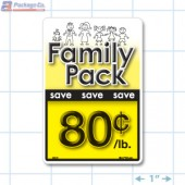 Family Pack Save 80¢ per lb Bright Yellow Rectangle Merchandising Labels - Copyright - A1PKG.com SKU - 15121