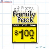 Family Pack Save $1.00 per lb Bright Yellow Rectangle Merchandising Labels - Copyright - A1PKG.com SKU - 15123