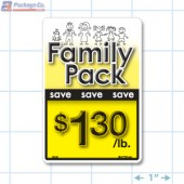 Family Pack Save $1.30 per lb Bright Yellow Rectangle Merchandising Labels - Copyright - A1PKG.com SKU - 15124