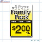 Family Pack Save $2.00 per lb Bright Yellow Rectangle Merchandising Labels - Copyright - A1PKG.com SKU - 15126