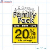 Family Pack Save 20% per kg Bright Yellow Rectangle Merchandising Labels - Copyright - A1PKG.com SKU - 15127