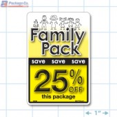 Family Pack Save 25% OFF Bright Yellow Rectangle Merchandising Labels - Copyright - A1PKG.com SKU - 15128