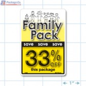 Family Pack Save 33% OFF Bright Yellow Rectangle Merchandising Labels - Copyright - A1PKG.com SKU - 15129