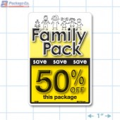 Family Pack Save 50% OFF Bright Yellow Rectangle Merchandising Labels - Copyright - A1PKG.com SKU - 15130
