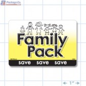 Family Pack Bright Yellow Rectangle Merchandising Labels - Copyright - A1PKG.com SKU - 15131