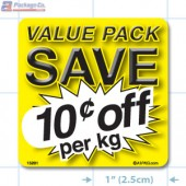 Value Pack Save 10¢ per kg Merchandising Label Copyright A1PKG.com - 15201