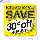Value Pack Save 30¢ per kg Merchandising Label Copyright A1PKG.com - 15203
