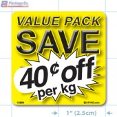 Value Pack Save 40¢ per kg Merchandising Label Copyright A1PKG.com - 15204