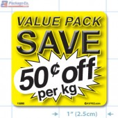 Value Pack Save 50¢ per kg Merchandising Label Copyright A1PKG.com - 15205