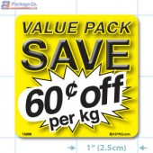 Value Pack Save 60¢ per kg Merchandising Label Copyright A1PKG.com - 15206