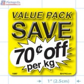 Value Pack Save 70¢ per kg Merchandising Label Copyright A1PKG.com - 15207