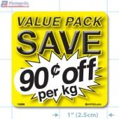 Value Pack Save 90¢ per kg Merchandising Label Copyright A1PKG.com - 15209