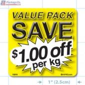 Value Pack Save $1.00 per kg Merchandising Label Copyright A1PKG.com - 15210
