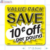 Value Pack Save 10¢ per lb Merchandising Label Copyright A1PKG.com - 15214
