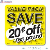 Value Pack Save 20¢ per lb Merchandising Label Copyright A1PKG.com - 15215