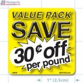 Value Pack Save 30¢ per lb Merchandising Label Copyright A1PKG.com - 15216