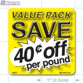 Value Pack Save 40¢ per lb Merchandising Label Copyright A1PKG.com - 15217
