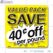 Value Pack Save 40¢ per lb Merchandising Label Copyright A1PKG.com - 15217