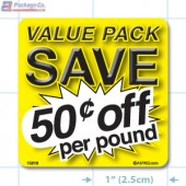 Value Pack Save 50¢ per lb Merchandising Label Copyright A1PKG.com - 15218