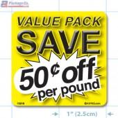 Value Pack Save 50¢ per lb Merchandising Label Copyright A1PKG.com - 15218