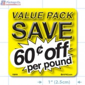 Value Pack Save 60¢ per lb Merchandising Label Copyright A1PKG.com - 15219