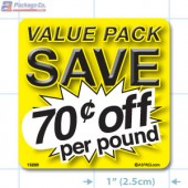 Value Pack Save 70¢ per lb Merchandising Label Copyright A1PKG.com - 15220