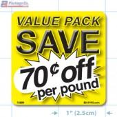 Value Pack Save 70¢ per lb Merchandising Label Copyright A1PKG.com - 15220