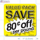 Value Pack Save 80¢ per lb Merchandising Label Copyright A1PKG.com - 15221