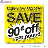 Value Pack Save 90¢ per lb Merchandising Label Copyright A1PKG.com - 15222