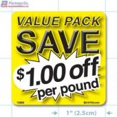 Value Pack Save $1.00 per lb Merchandising Label Copyright A1PKG.com - 15223