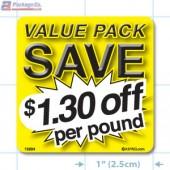 Value Pack Save $1.30 per lb Merchandising Label Copyright A1PKG.com - 15224
