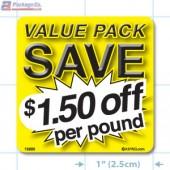 Value Pack Save $1.50 per lb Merchandising Label Copyright A1PKG.com - 15225