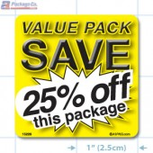 Value Pack Save 25% OFF Merchandising Label Copyright A1PKG.com - 15228