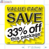 Value Pack Save 33% OFF Merchandising Label Copyright A1PKG.com - 15229