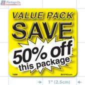 Value Pack Save 50% OFF Merchandising Label Copyright A1PKG.com - 15230