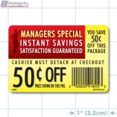 Instant Savings 50¢ off Coupon Full Color Rectangle Merchandising Labels - Copyright - A1PKG.com SKU -  15301