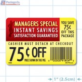 Instant Savings 75¢ off Coupon Full Color Rectangle Merchandising Labels - Copyright - A1PKG.com SKU -  15302