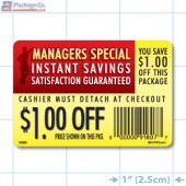 Instant Savings $1.00 off Coupon Full Color Rectangle Merchandising Labels - Copyright - A1PKG.com SKU -  15303