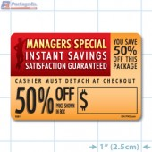 Instant Savings 50% off Coupon Full Color Rectangle Merchandising Labels - Copyright - A1PKG.com SKU -  15311