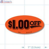 $1.00 Off Fluorescent Red Oval Merchandising Labels - Copyright - A1PKG.com SKU - 15320