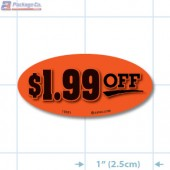 $1.99 Off Fluorescent Red Oval Merchandising Labels - Copyright - A1PKG.com SKU - 15321