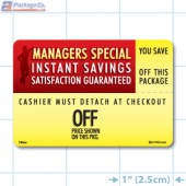 "Instant Savings ""Custom Imprinted Value"" Coupon Full Color Rectangle Merchandising Labels - Copyright - A1PKG.com SKU -  153XX"