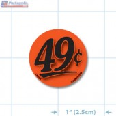 49¢ Fluorescent Red Circle Merchandising Price Label Copyright A1PKG.com - 15501