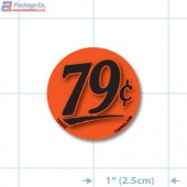 79¢ Fluorescent Red Circle Merchandising Price Label Copyright A1PKG.com - 15502