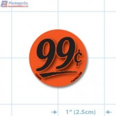 99¢ Fluorescent Red Circle Merchandising Price Label Copyright A1PKG.com - 15503