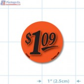 $1.09 Fluorescent Red Circle Merchandising Price Label Copyright A1PKG.com - 15505