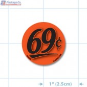 69¢ Fluorescent Red Circle Merchandising Price Label Copyright A1PKG.com - 15525